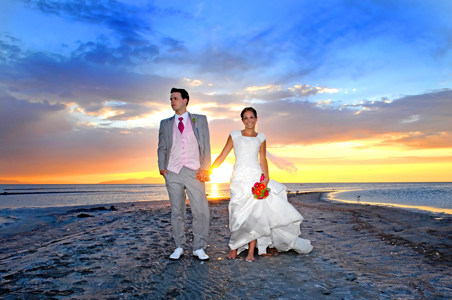 Bride and Groom at Sunset on Beach, Wendy G.
