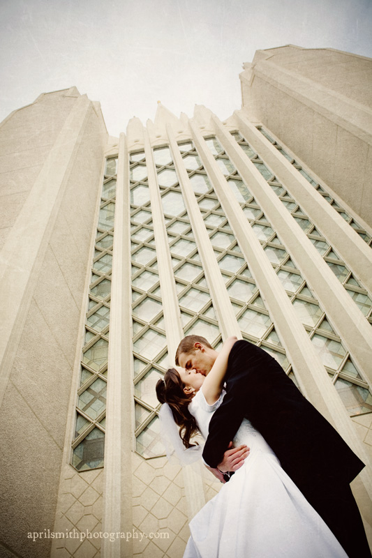 Kissing Passionately in front of temple, temple high, April Smith photography