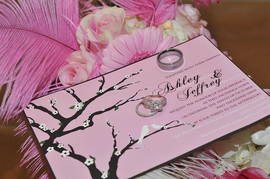 Pink LDS Wedding Invitation
