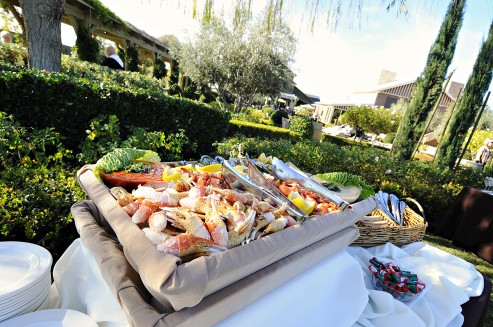 professionally catered buffet food