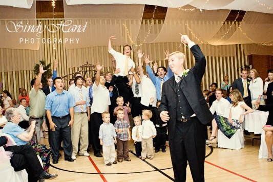 garter toss for LDS wedding receptions, Photo by Sindy Hand Photography, WeddingLDS.com