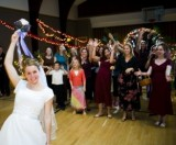 bouquet toss for LDS wedding receptions