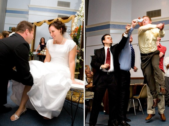 garter toss for LDS wedding receptions, Photo by Ravenberg Photography, WeddingLDS.com