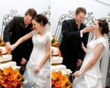 the wedding cake cutting ceremony